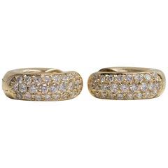 Small Pair of Diamond Hoop Earrings 18 Karat Yellow Gold