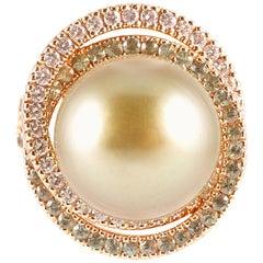 "Margot McKinney ""Pistachio"" Pearl Diamond Sapphire Rose Gold Ring"