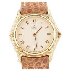 Ebel Women's 18 Karat Gold Quartz #1657 Watch with Diamonds and Leather Band