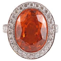 Tourneau 15.32 Carat Mandarin Garnet 1.45 Carat Diamond Orange and Red Sapphire