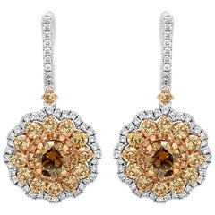 Round Champagne Diamond Triple Halo Two-Color Gold Dangle Earring
