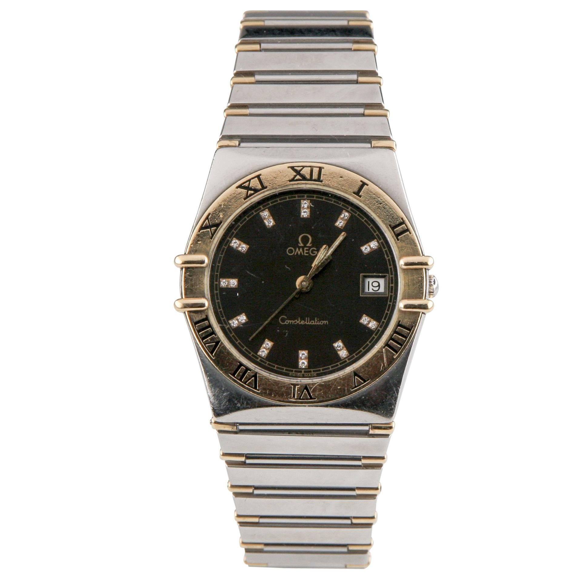 Omega Constellation Quartz Two-Tone Watch with Diamond Dial and Date Feature