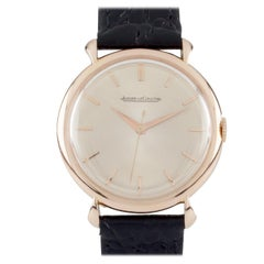 Jaegar-LeCoultre 18 Karat Gold Hand-Winding Watch with Leather Band Case #3225