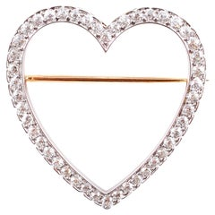 Vintage Tiffany & Co. 2.30 Carat Diamond Heart Brooch