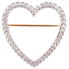 Vintage Tiffany & Co. 2,30 Karat Diamant Herz-Brosche