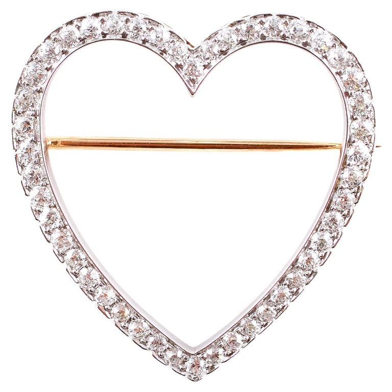 Vintage Tiffany & Co. 2.30 Carat Diamond Heart Brooch For Sale