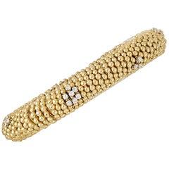 Estate Diamond Gold Bead Stretch Bracelet