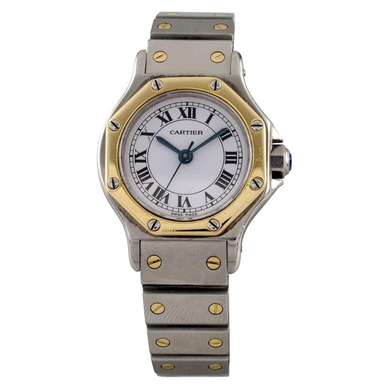 c0473c91d040 Cartier Santos Octagon Two-Tone Stainless Steel 18k Gold Automatic Ladies  Watch For Sale