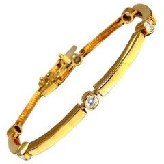 .80 Carat Natural Round Diamonds Arch Bar Link Bracelet 14 Karat