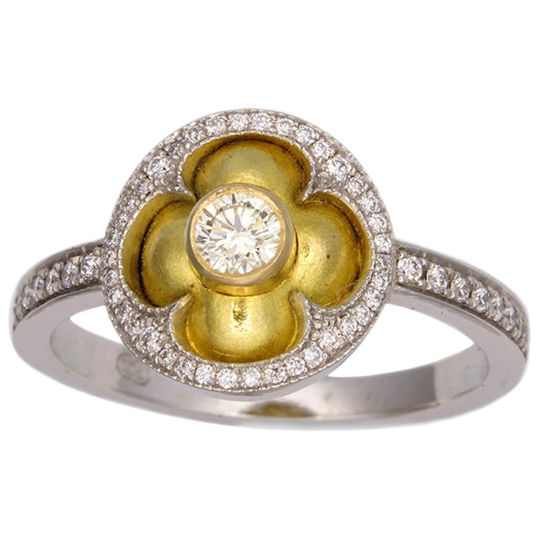 William Llewellyn Griffiths White and Yellow Gold Diamond Quatrefoil Ring