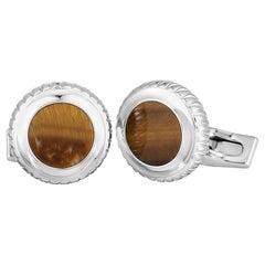 Charriol Columbus Stainless Steel Tiger's Eye Round Cufflinks