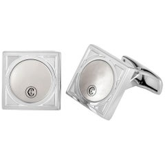 Charriol Alexandre Brass Rhodium-Plated White Mother of Pearl Square Cufflinks