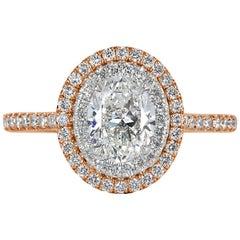Mark Broumand 1.57 Carat Oval Cut Diamond Engagement Ring