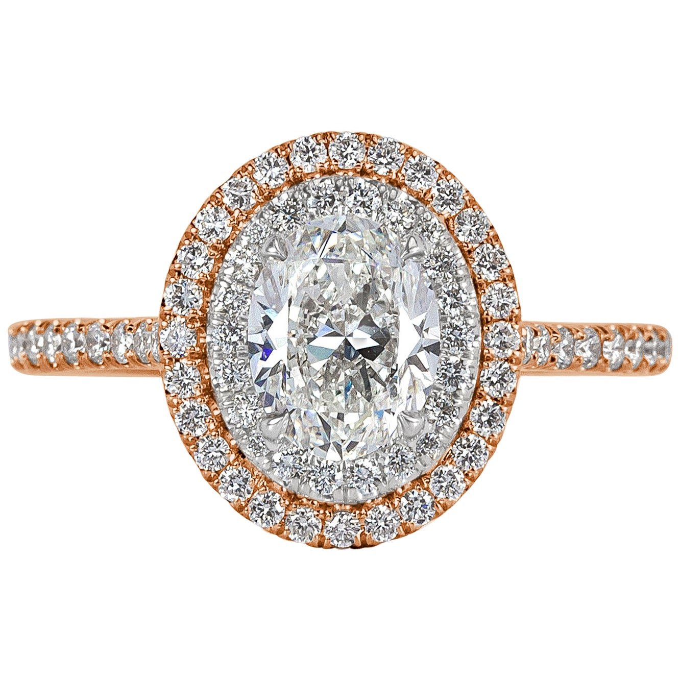 Mark Broumand 1.57 Carat Oval Cut Diamond Engagement Ring