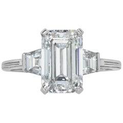 Mark Broumand 2.69 Carat Emerald Cut Diamond Three-Stone Engagement Ring