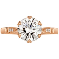 Mark Broumand 2.08 Carat Round Brilliant Cut Diamond Engagement Ring