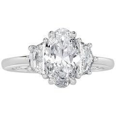 Mark Broumand 2.17 Carat Oval Cut Diamond Engagement Ring