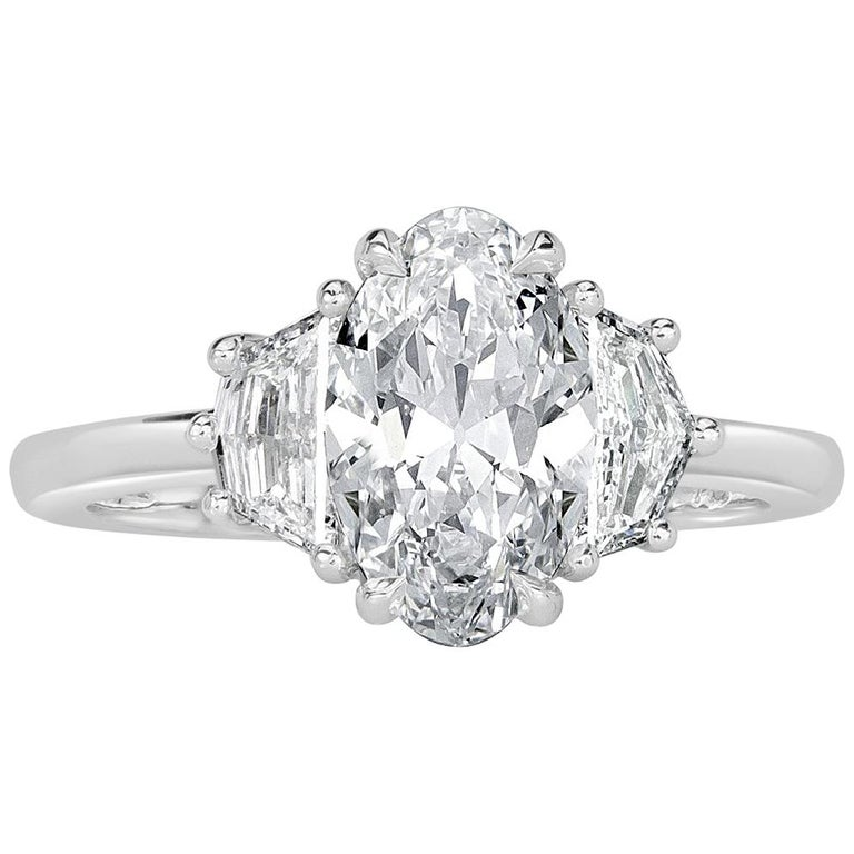 Mark Broumand 2.17 Carat Oval Cut Diamond Engagement Ring For Sale