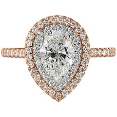 Mark Broumand 1.48 Carat Pear Shaped Diamond Engagement Ring