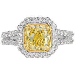 Mark Broumand 2.18 Carat Fancy Yellow Radiant Cut Diamond Engagement Ring
