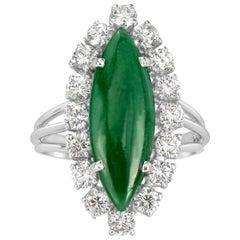 Mark Broumand 1.00 Carat Round Brilliant Cut Diamond and Jade Estate Ring