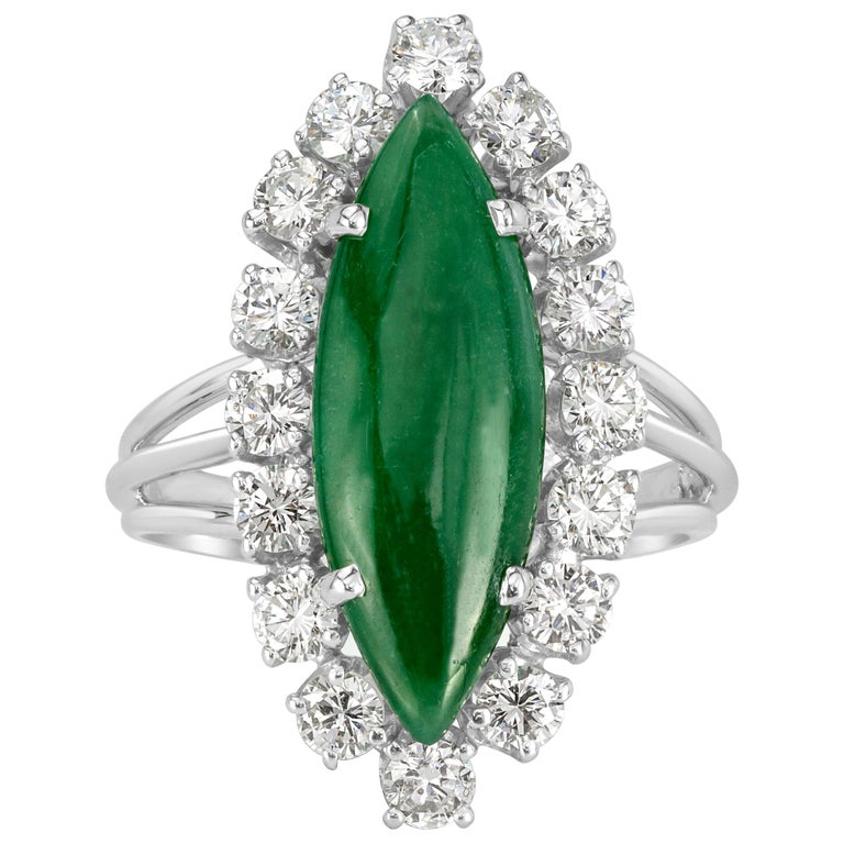 Mark Broumand 1.00 Carat Round Brilliant Cut Diamond and Jade Estate Ring For Sale