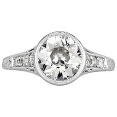 Mark Broumand 1.65 Carat Old European Cut Diamond Estate Engagement Ring