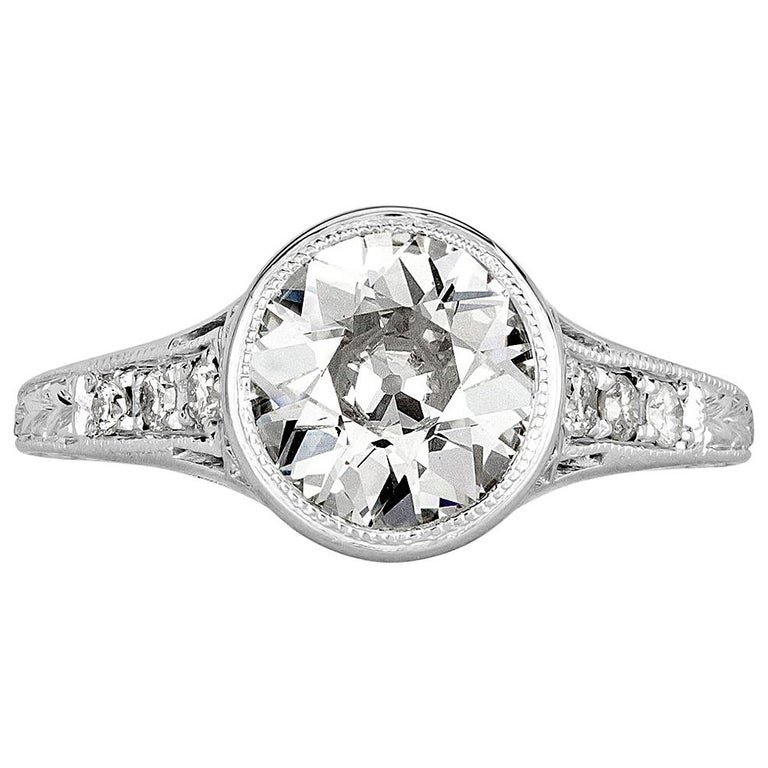 Mark Broumand 1.65 Carat Old European Cut Diamond Estate Engagement Ring For Sale