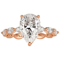 Mark Broumand 3.04 Carat Pear Shaped Diamond Engagement Ring