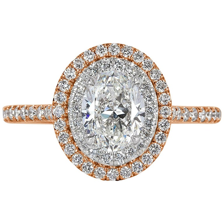 Mark Broumand 1.57 Carat Oval Cut Diamond Engagement Ring For Sale