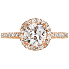 Mark Broumand 1.75 Carat Old Mine Cut Diamond Engagement Ring