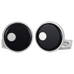 Charriol Stainless Steel Onyx Round Cufflinks