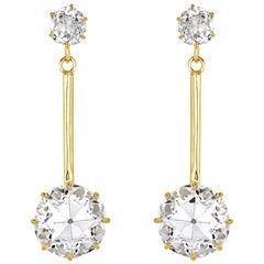 Mark Broumand 10.35 Carat Old European & Old Mine Diamond Estate Dangle Earrings