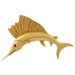 Asprey 18 Karat Yellow Gold 1 Ruby Fish Brooch