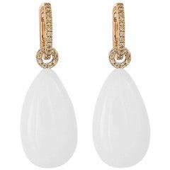 Precious Basics 39.57 Carat Cacholong and Diamond Studded Earrings