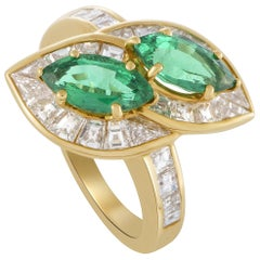 Graff Diamond Invisible Setting and Marquise Emeralds Yellow Gold Bypass Ring