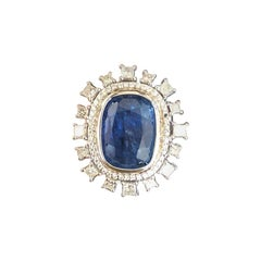 Set in 18K gold, 15.88cts Burma Blue Sapphire and princess diamond cocktail ring