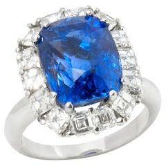 GIA Certified 18 Karat White Gold 12.54 Carat Sapphire & Diamond Cocktail Ring
