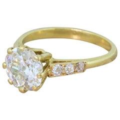 Midcentury 1.85 Carat Old European Cut Diamond Engagement Ring