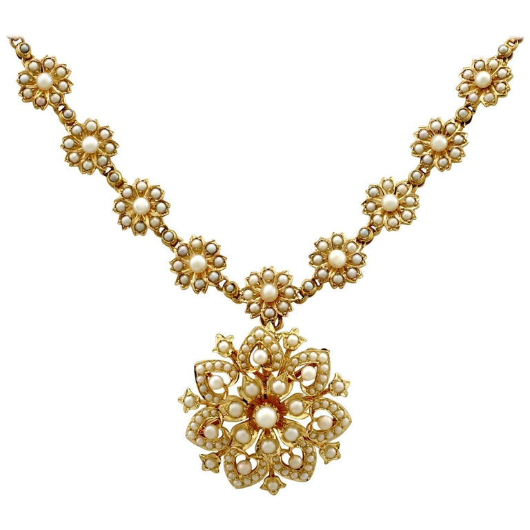 Victorian Seed Pearl and Yellow Gold Necklace or Brooch For Sale
