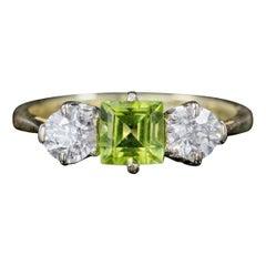 Antique Edwardian Peridot Diamond Trilogy Ring Platinum 18 Carat Gold