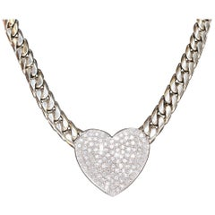 Luxury and Heavy 18 Karat White Gold Necklace with 120 Diamonds, Heart Shape