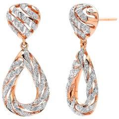 18 Karat Rose Gold Pear Earrings with 0.60 Carat of Diamonds