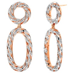Paolo Costagli 18 Karat Rose Gold Earrings with 0.99 Carats of Diamonds