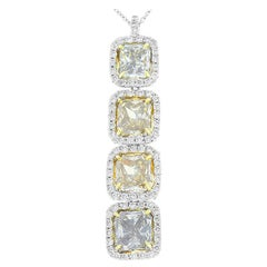 GIA Certified 5.02 Carat Total Radiant Cut Fancy Yellow Pendant in White Gold