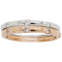 14 Karat Rose and White Gold Diamond Stackable Bands