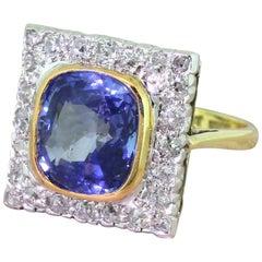 Art Deco 4.95 Carat Natural Ceylon Sapphire and Old Cut Diamond Ring