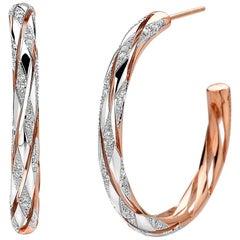 18 Karat Rose Gold Hoops with 0.46 Carats of Diamonds