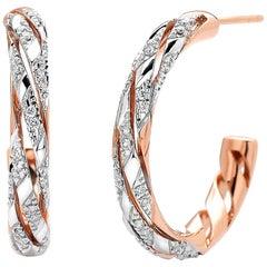 Paolo Costagli 18 Karat Rose Gold Hoop Earrings with 0.30 Carat of Diamonds