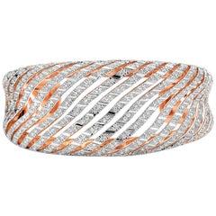 18 Karat Rose Gold Cuff Bracelet with 3.49 Carat of Diamonds